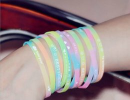Chinese  Hot lot mixed colors Luminous Rubber Sweat Band Men Women Bangles Basketball Sports Wristbands Silicone Bracelets manufacturers