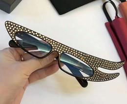 Designer 0240S Dark Havana con pietre borchie / occhiali da sole azzurri Fashion Brand Sunglasses Eyewear Nuovo con scatola