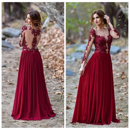 Wholesale Burgundy Sexy Sheer Scoop Neck Robes De Soiree Illusion Long Sleeves Evening Gowns Lace Appliques Chiffon Prom Party Gowns