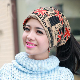 Scarf ShopS online shopping - Fashion Autumn and winter muffler hats scarf dual use hat The British style cap turban beanie hats for women Free shopping