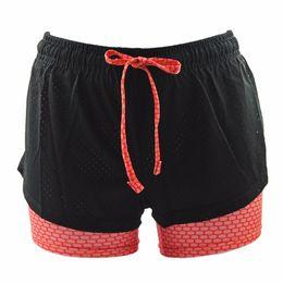 Layer Pants Canada - Double-Layer Running Shorts Jogging Yoga Short Pants Gym Ladies Fitness Athletic Yoga Shorts Bandage Elastic Sports Women