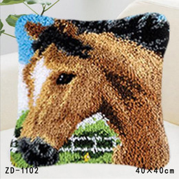 Discount thread crochet pattern - Horse Patterns Cushion Cover Pillowcase Embroidery Stitch Thread Latch Hook Rug Kits Handmade Crafts Creative Diy Festiv