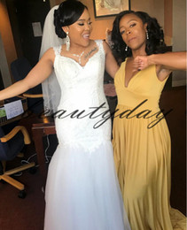Discount mermaid wedding dresses for maternity - 2019 Garden Vintage Nigerian Wedding Dresses For Bride Mermaid Wedding Dress Maternity Pregnant Bridal Gowns Sexy White