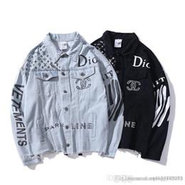 VETEMENTS haute qualité Vêtements de travail veste en jean Hommes et femmes Justin Bieber veste de baseball Kanye West ma-1 pilote broderie en Solde