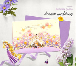 castle wedding invitation cards UK - Wedding Invitations Cards Personalized Purple Castle Laser Cut Wedding Invitation with Flowers Europe Style Free Printing