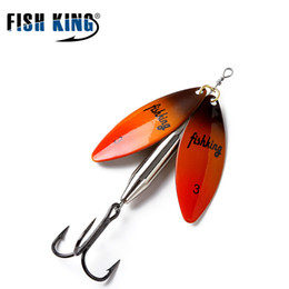 fishing spinners 2019 - bait FISH KING 1PCs Mepps Spoon Brass Material Long Cast Spinner Double 10 Color With Mustad Treble Hook cheap fishing s