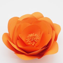 $enCountryForm.capitalKeyWord UK - 1 Piece 30CM Orange High Quality Cardstock Customized Giant Craft Supplies Artificial Paper Flower For Wedding Backdrops Windows Display