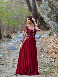 beaded illusion Australia - Evening Dresses Sexy Jewel Neck Illusion Lace Appliques Crystal Beaded Burgundy Long Sleeves Formal Prom Dresses Evening Gowns