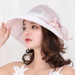 New Trendy Summer Hats For Women Organza Floral Wedding Fedoras Formal Kentucky  Derby Hats Wide Brim Sunhat Beach Church Hat 680e2a34a306