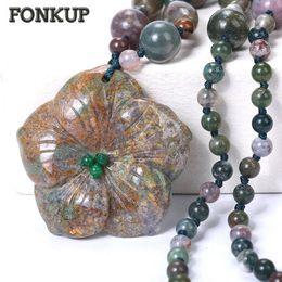 Discount crystal sculptures - Fonkup Aquatic Agate Necklace Bead Chain Pendant Stone Jewellery Original Bohemia Women Accessories Men Bijoux Crystal S