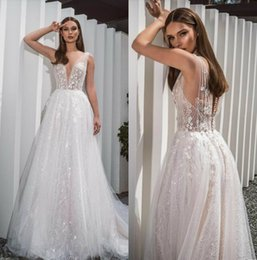 $enCountryForm.capitalKeyWord UK - Crystal Design 2019 Wedding Dresses V Neck Bling Lace Bridal Gowns Sweep Train Beach Appliqued Wedding Dress Custom Made