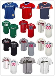 Wholesale custom Men s women youth Majestic Atlanta Braves Jersey Personalized Name and Number Red Blue Grey White Kids Girls Baseball Jerseys
