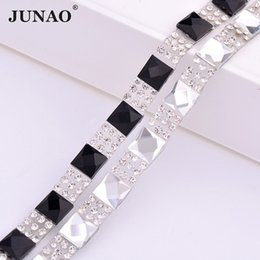 Glass Clothes NZ - JUNAO 5 Yard*8mm Clear Black Square Rhinestones Fabric Chain Glass Mesh Trim Hotfix Crystal Applique Band For DIY Clothes Shoes