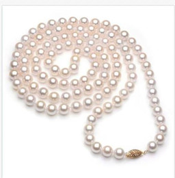"""long AAAAA 36/""""9-10mm round REAL natural south sea white pearl necklace 14K gold"""