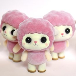 furry toys 2019 - Little Kawaii PVC Flocking Doll Furry Sheep Mini Animals Toys for Children Flocking Toy For Girls Kids Gift Figures disc