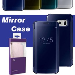8 Case Canada - Mirror Electroplate Case Clear View Window Sleep Awake Touch Smart Cover For iPhone X 8 7 Plus 6 6S 5S 5 Samsung Galaxy S9 S8 With Package