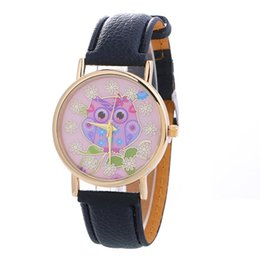 watch pattern girls 2019 - Women Ladies Owl Pattern WristWatch Fashion Women Dress Watch High Quality Watch Sweet Girls Bracelet Dial Clock kol saa