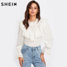 5b6c499eed17 SHEIN Eyelet Embroidered Ruffle and Bell Cuff Blouse White Blouses 2017  Autumn Elegant Women's Long Sleeve BlouseY1882504