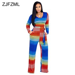 e9dea56bf462 Rainbow Black White Striped Print Overalls For Women V Neck Full Sleeve Big  Sizes Jumpsuit Casual Belted Pockets Wide Leg Romper