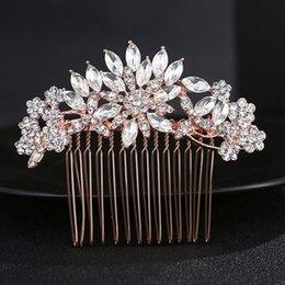 Ingrosso Splendida Art Deco Rose Gold Rhinestones di cristallo fiore floreale Capelli pettine da sposa copricapo capelli bastone accessori per capelli JCH029