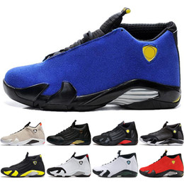 670a6cfbfc9a0e 2018 Hot 14 14s mens Basketball Shoes Desert Sand DMP Last Shot Indiglo  Thunder Blue Suede Oxidized Grey White mens Sports Sneakers designer