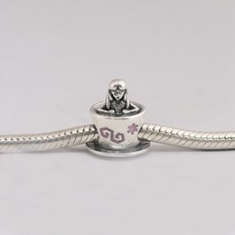 Alice Silver NZ - 925 Sterling Silver Beads Alice In Wonderland Teacup Fantasyland Charms Fits European Pandora Style Jewelry Bracelets Necklace