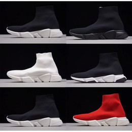 HigH cuts sHoes boot online shopping - High Quality Cheap Original Women Men Sock Running Shoes Black White Red Speed Trainer Sports Sneakers Top Boots Casual shoe mens