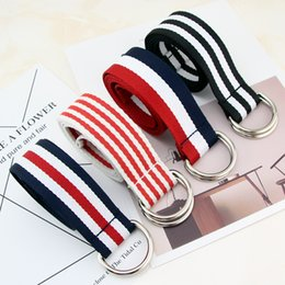 $enCountryForm.capitalKeyWord Canada - Simple wild striped canvas belt ladies bf wind Korean version of the young students double ring buckle jeans belt male wide