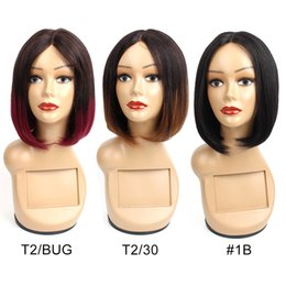 1b bob wigs online shopping - Middle Part Bob Wig Short Human Hair Wigs Chinese Hair Natural Color Ombre B B Burgundy j Straight Hair Capless Wigs