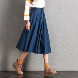 high waist jeans for girls fashion 2019 - 7XL 8XL Denim Skirts For Women Long Jeans Skirts High Waist Plus Size 2018 Girls A Line Summer High Quality New Fashion