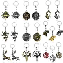 $enCountryForm.capitalKeyWord NZ - Game of Thrones Nine Family Key Pendant Stark Targaryen Symbol Keychain Jon Snow Targaryen Blood and fire lion dragon Key rings Dropshipping