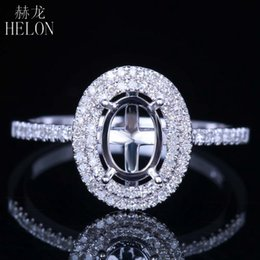 $enCountryForm.capitalKeyWord NZ - HELON Solid 14K White Gold Flawless Oval Cut 7x5mm Semi Mount Anniversary Fine Ring Pave Natural Diamond Engagement Wedding Ring