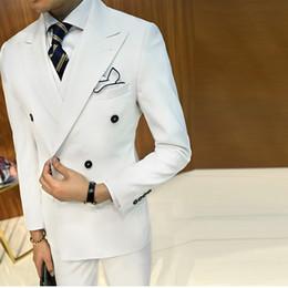 Double Breast Dresses NZ - Customized new fashion men's suit three-piece suit (jacket + pants + vest) men's double-breasted gentleman suit wedding groom dress
