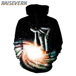 Galaxy Sweatshirt Brand NZ - RAISEVERN 2018 New Space Galaxy Alien Print Autumn Fashion Hoodies Male Large Size Warm Coat Men Brand Hoodies Sweatshirts