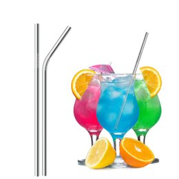 China Metal Drinking Straws 304 Stainless Steel Eco Friendly 8.5inch Drinking Straw Reusable Straight Bent Straw for Beer Cool Drink cheap stainless steel cocktail straws suppliers