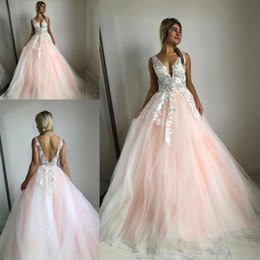 Girls dress 16 years online shopping - Sexy A Line Quinceanera Dresses Deep V Neck Lace Appliques Sleeveless Tulle Sweep Train Sweet Years Girls Evening Formal Gowns