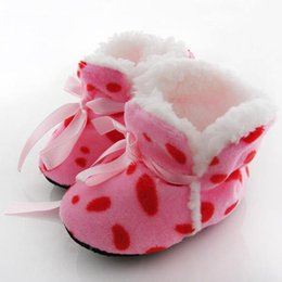 Discount toddler snow shoes - Wholesale- Cute Toddler Kids Fleece Fur Snow Boots Laced Baby Shoes Winter Ankle Socks A63