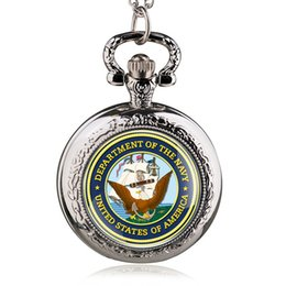 $enCountryForm.capitalKeyWord UK - Silver Round Case Quartz Pocket Watches with Necklace United States America Department of the Navy Pendant Watch Men Women PB488