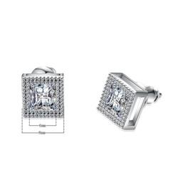 b24dde30ee4c Nueva Espumoso Cuadrado Blanco Cubic Zirconia Mejor Joyería nupcial 925  Sterling Silver Filled Stud Pendientes Para Las Mujeres regalos