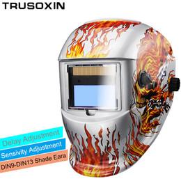 Weld Mask Darkening Canada - Solar Auto Darkening Electric Wlding Mask Helmet Welder Cap Welding Lens Eyes Mask for Welding Machine and Plasma Cutting Tool