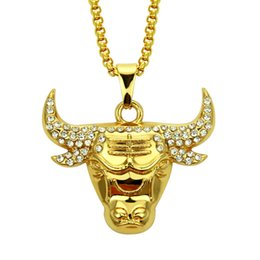 18k white gold chain styles UK - Hot sale Punk Style Cow Head Pendant Necklace Bulls Chain For Men Boy Fashion Hip Hop Jewelry
