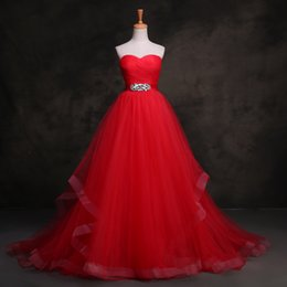 Import Wedding Dresses Canada - Real Strapless Crystal Red Wedding Dresses 2018 Custom Made Ruched Sash Imported Wedding Gowns China Bride Dresses Lavender Bridal Gown