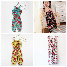 Discount girls floral jumpsuit suspender trousers - Summer Girls Floral Jumpsuit Suspender Trousers Pants 100% Cotton Flower Print Kids girl's one-piece Outfit baby cl