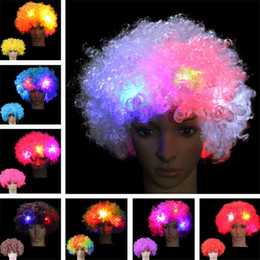 soccer party decorations 2019 - Halloween Christmas Explosive head wig Disco fluffy soccer fan LED wigs Circus Fancy Dress Hair Xmas Party Cosplay clown