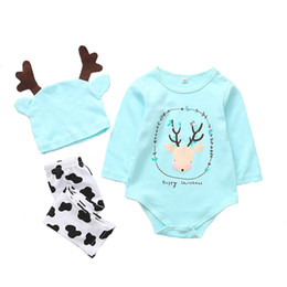 New model paNt boys online shopping - New Christmas newborn jumpsuit pants hat baby boys girl clothings autumn and winter models new cotton baby triangle suit