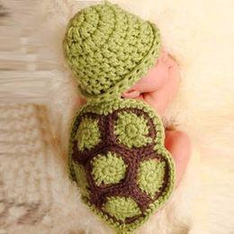 Baby Boy Skull Crochet Beanies Australia - Baby Girl Boy Newborn Turtle Knit Crochet Clothes Beanie Hat Outfit Photo for 0-4 monthsfashion sun hats for children