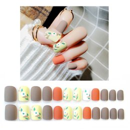 $enCountryForm.capitalKeyWord Canada - 24pcs Set Matte Leaves Pattern False Nails Orange grey Mix Color Middle Long Full Finished Fake Nail Art Tips Tool with Glue