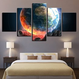 Panels Scenery Canvas Art Prints NZ - Canvas Wall Art Pictures For Living Room Home Decor Framework 5 Pieces Earth Planet Scenery Paintings HD Prints Abstract Poster