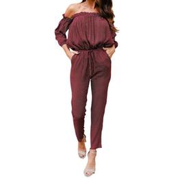 $enCountryForm.capitalKeyWord UK - Women Jumpsuit Sexy Full Length Off Shoulder Print Dot Elastic Waist Female Jumpsuits Overall Women Clothing WS5081E