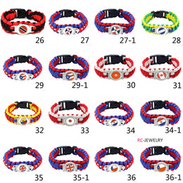 Wholesale word flags online – Mix Styles National Flag Paracord Survival Bracelets Custom Made Camping Sports Bracelet Customized logo Word Cup umbrella bracelet